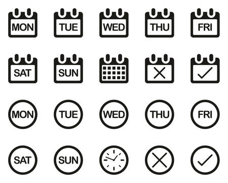 Days Of The Week Icons Black & White Set Big