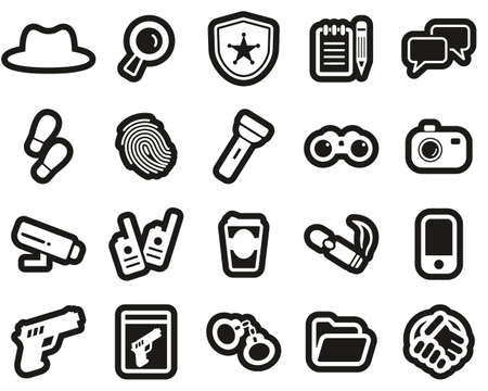 Detective or Private Eye Icons White On Black Sticker Set Big