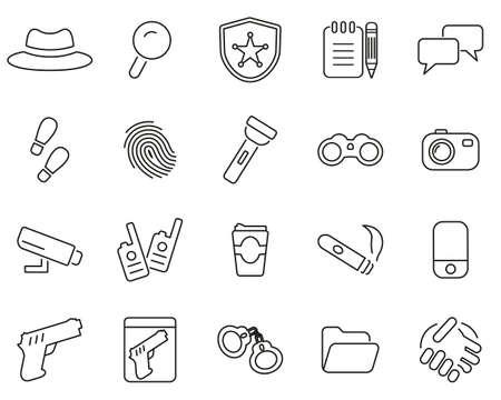 Detective or Private Eye Icons Black & White Thin Line Set Big Illustration