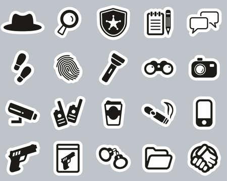 Detective or Private Eye Icons Black & White Sticker Set Big