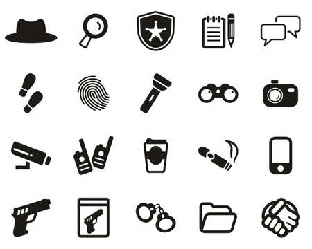 Detective or Private Eye Icons Black & White Set Big