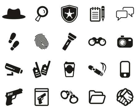 Detective or Private Eye Icons Black & White Set Big