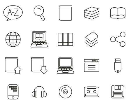 Dictionary or Glossary Icons Black & White Thin Line Set Big