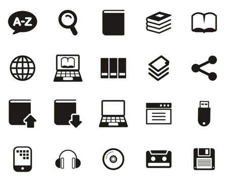 Dictionary or Glossary Icons Black & White Set Big