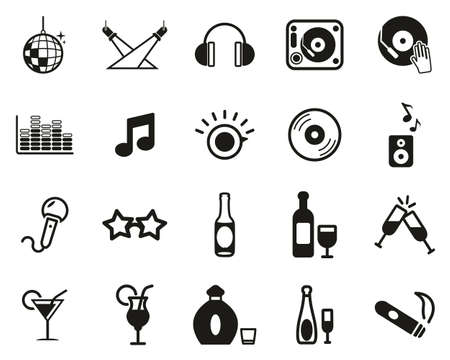 Disco Or Night Club Icons Black & White Set Big