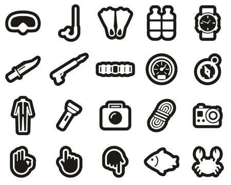 Diving & Diving Gear Icons White On Black Sticker Set Big Banque d'images - 138084554