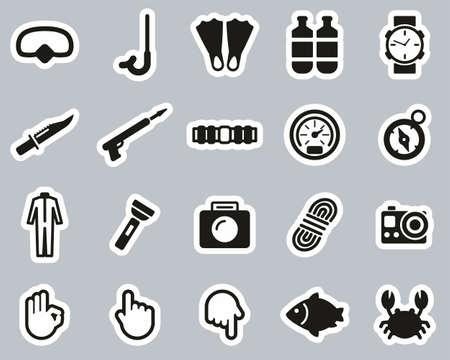 Diving & Diving Gear Icons Black & White Sticker Set Big Banque d'images - 138084556