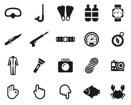 Diving & Diving Gear Icons Black & White Set Big Banco de Imagens - 138084557
