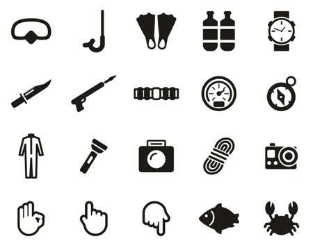Diving & Diving Gear Icons Black & White Set Big Banque d'images - 138084557