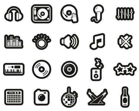 DJ & DJ Equipment Icons White On Black Sticker Set Big