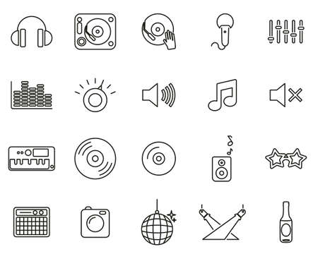 DJ & DJ Equipment Icons Black & White Thin Line Set Big