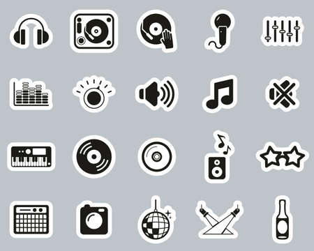 DJ & DJ Equipment Icons Black & White Sticker Set Big