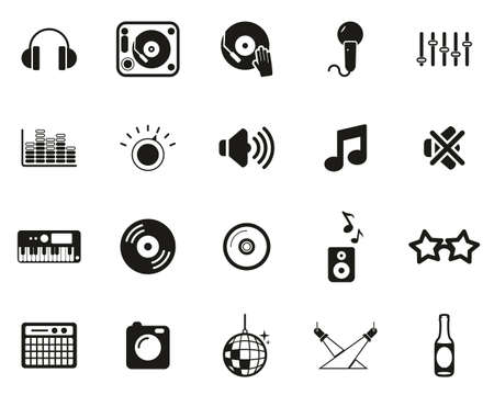 DJ & DJ Equipment Icons Black & White Set Big