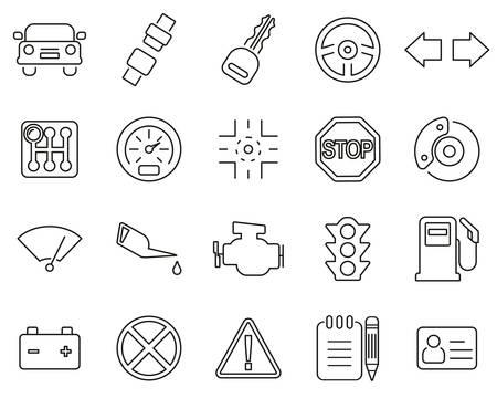 Driving School Icons Black & White Thin Line Set Big