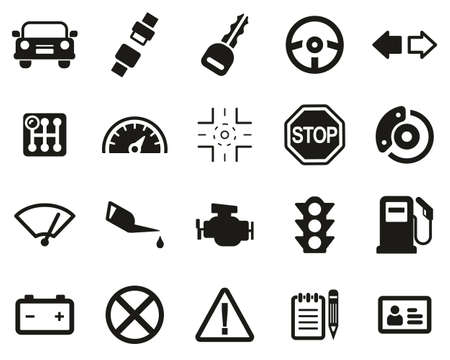 Driving School Icons Black & White Set Big