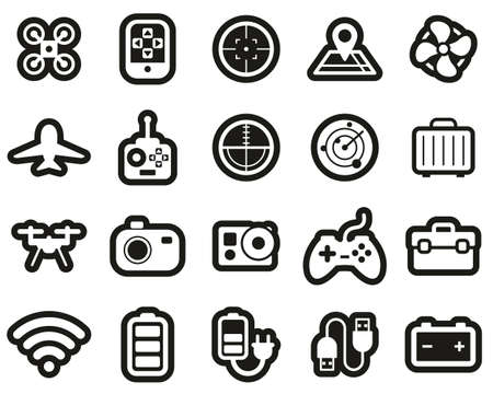 Drone Or Quadcopter Icons White On White Sticker Set Big