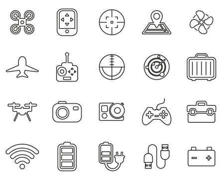 Drone Or Quadcopter Icons Black & White Thin Line Set Big