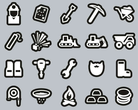 Gold Rush Or Gold Mining Icons White On White Sticker Set Big