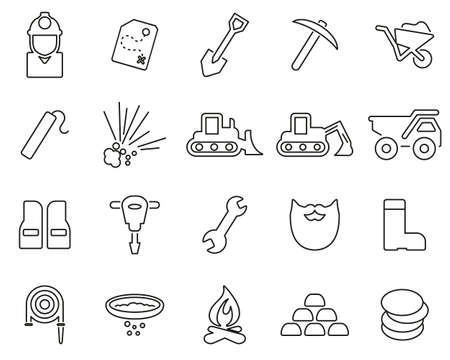 Gold Rush Or Gold Mining Icons Black & White Thin Line Set Big Иллюстрация