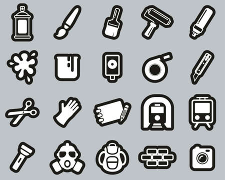 Graffiti Art & Street Art Icons White On Black Sticker Set Big
