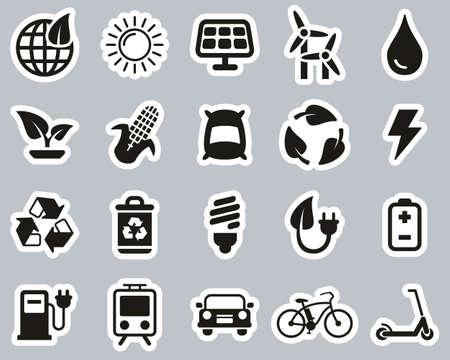 Green Energy Icons White On Black Sticker Set Big Ilustrace