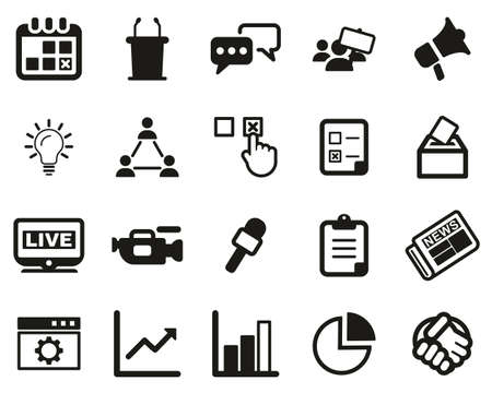 Elections Or Voting Icons Black & White Set Big