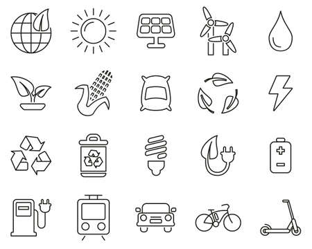 Green Energy Icons Black & White Thin Line Set Big
