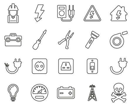 Electrician Tools & Equipment Icons Black & White Thin Line Set Big Ilustrace