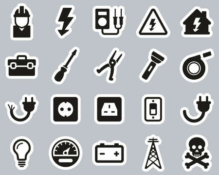 Electrician Tools & Equipment Icons Black & White Sticker Set Big