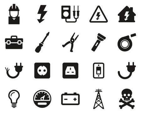 Elektryk narzędzia i sprzęt ikony czarno-biały zestaw duży
