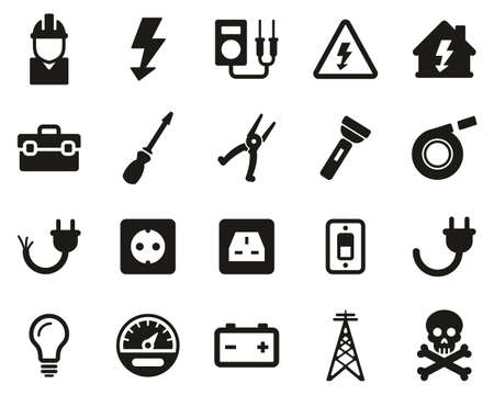 Ensemble d'icônes d'outils et d'équipement d'électricien noir et blanc grand