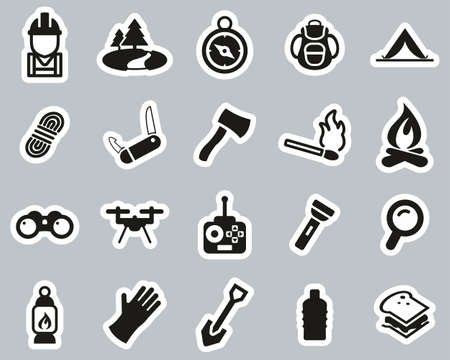 Expedition & Exploring Icons Black & White Sticker Set Big Reklamní fotografie - 138085996