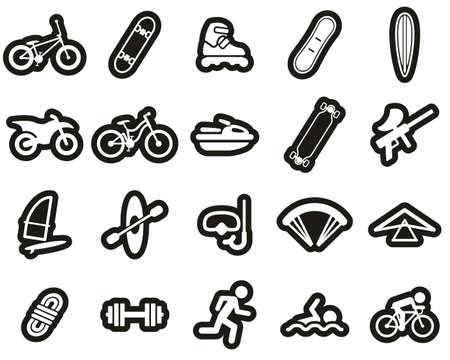 Extreme Sports & Equipment Icons White On Black Sticker Set Big Иллюстрация