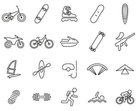 Extreme Sports & Equipment Icons Black & White Thin Line Set Big Фото со стока - 138086001