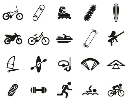 Extreme Sports & Equipment Icons Black & White Set Big