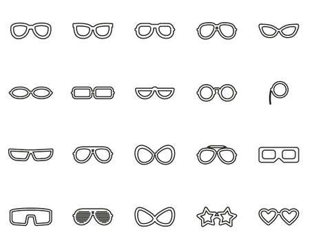 Eyeglasses & Sunglasses Icons Black & White Thin Line Set Big