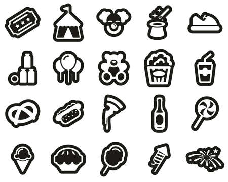 Fair or Carnival Icons White On Black Sticker Set Big Vettoriali