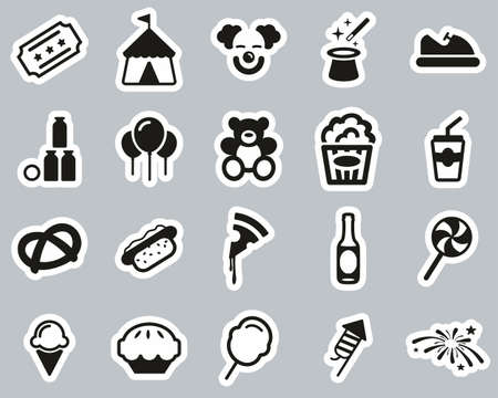 Fair or Carnival Icons Black & White Sticker Set Big