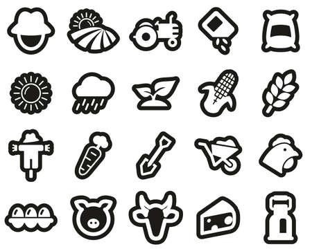 Farm & Farm Equipment Icons White On Black Sticker Set Big