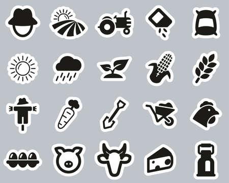Farm & Farm Equipment Icons Black & White Sticker Set Big