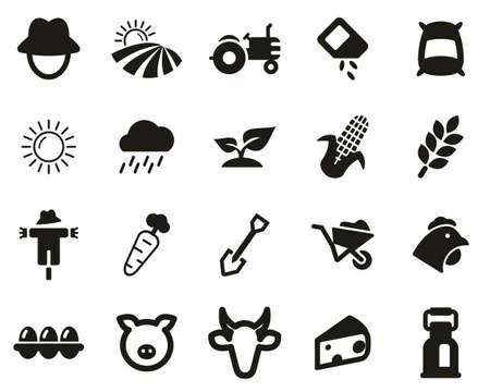 Farm & Farm Equipment Icons Black & White Set Big Ilustracja