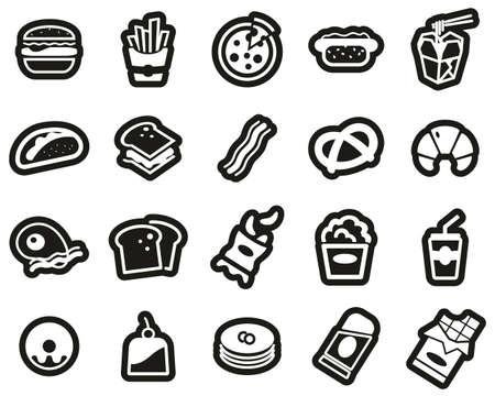 Fast Food Or Junk Food Icons White On Black Sticker Set Big Ilustracja