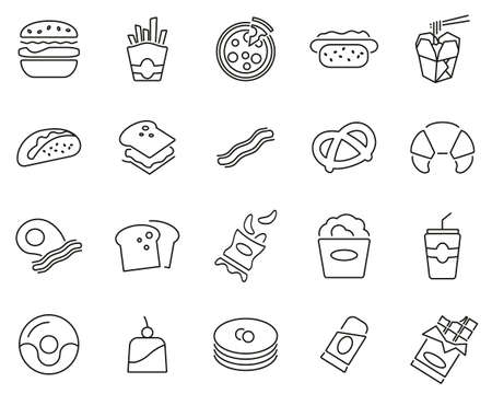 Fast Food Or Junk Food Icons Black & White Thin Line Set Big