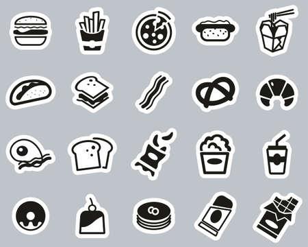 Fast Food Or Junk Food Icons Black & White Sticker Set Big