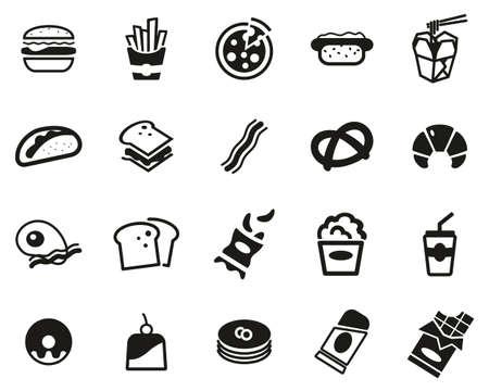Fast Food Or Junk Food Icons Black & White Set Big