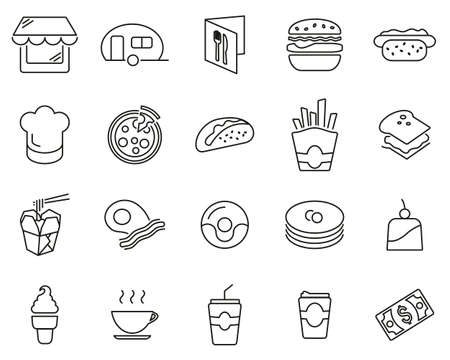 Fast Food Restaurant Or Fast Food Stand Icons Black & White Thin Line Set Big