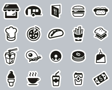 Fast Food Restaurant Or Fast Food Stand Icons Black & White Sticker Set Big