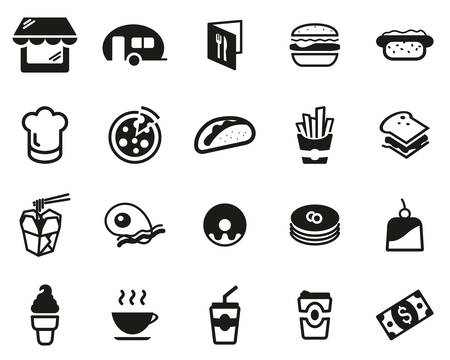 Fast Food Restaurant Or Fast Food Stand Icons Black & White Set Big