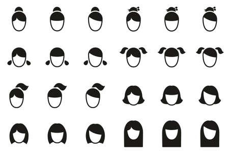 Female Haircut Style Icons Black & White Set Big