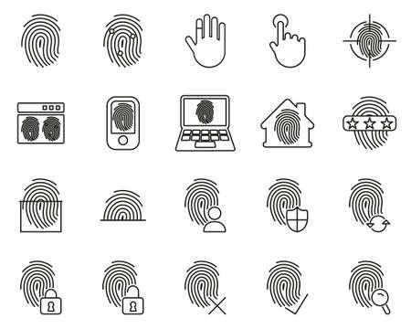 Fingerprint Icons Black & White Thin Line Set Big